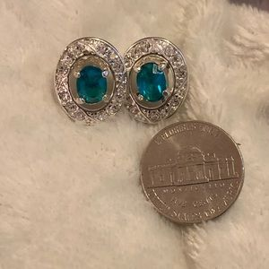 Jewelry - Beautiful Silver Earrings with Aqua Blue Stones